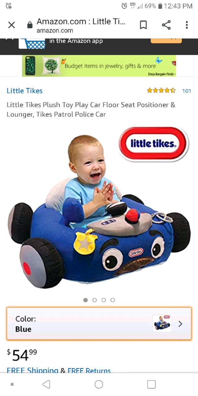 Photo Little tikes plush play car floor seat positioner