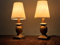 Small Gold-tone Wooden Accent Lamps Pacheco