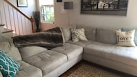 gray suede sectional couch with throw pillows Silver Spring, 20910