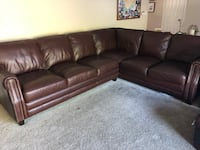 brown leather sectional couch and ottoman Westminster, 92683