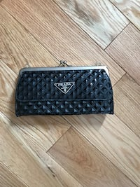 quilted black Prada patent leather long wallet