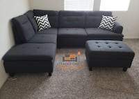 Brand new black sectional sofa with Storage Ottoman and 2 accent pillows Silver Spring, 20902