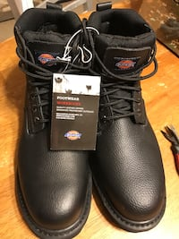Pair of black dickies leather work boots