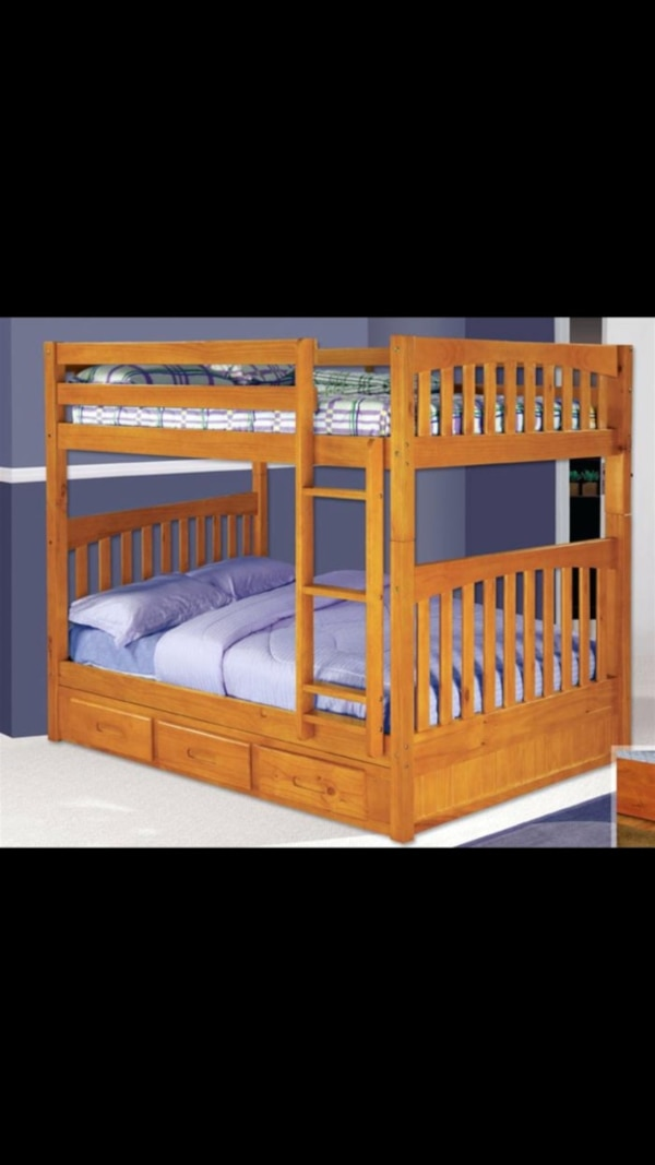 Used Full size bunk beds mattresses included for sale in ...