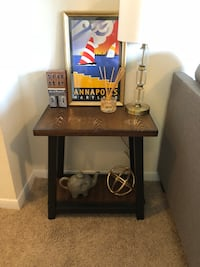 black and brown wooden side table