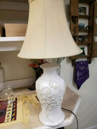 white and brown table lamp Shermans Dale, 17090