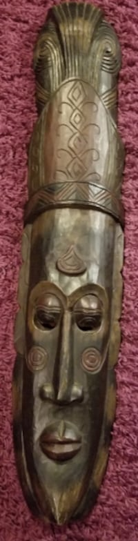 Large Wooden Tribal Mask, 3 feet 5 inches Calgary
