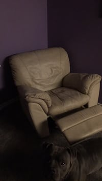 Brown leather sofa chair with ottoman Mesquite, 75149