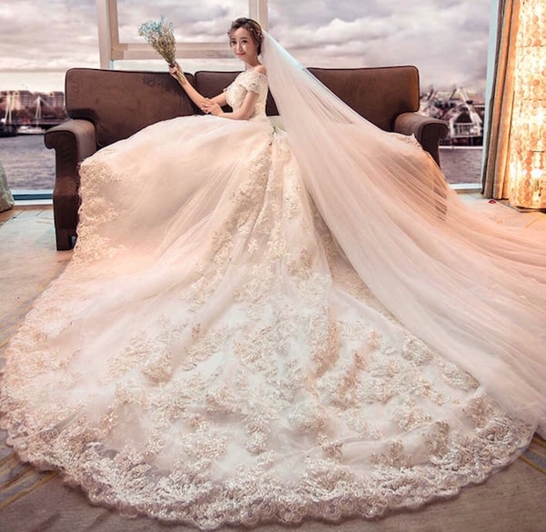 3aa42e09e7c8f3 Luxury Wedding Dresses Bridal Gowns With Long Tail + Long matching veil    Gloves. Only