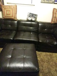 black leather tufted sectional sofa Detroit, 48202