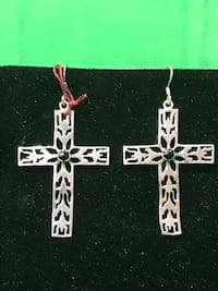 OPEN DESIGNED CROSS DANGLE EARRINGS WITH SMALL BLACK STONES 925 Silver 4.9g 73107