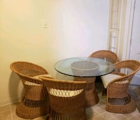 two brown wicker armchairs with table Albuquerque, 87102
