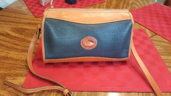 Authentic Dooney And Bourke Navy Leather Vintage Purse