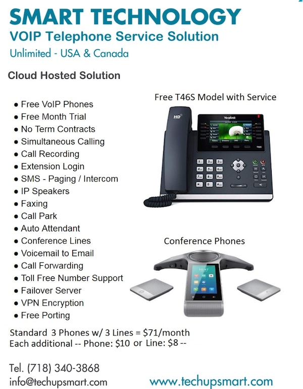Business VoIP Phones - Cloud Hosted Phone System - Yealink 46S Included