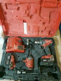 red and black Milwaukee cordless drill set Surrey, V3T 1X1