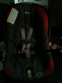baby's black and red car seat