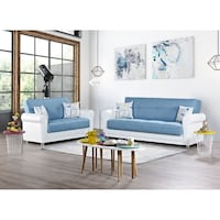 NEW 2 PCS CONVERTIBLE SOFA BED & LOVESEAT WITH STORAGE  Clifton, 07013