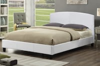 Brand new queen white faux leather platform bed on sale  547 km