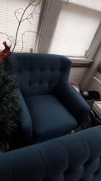 Navy blue chair & matching couch