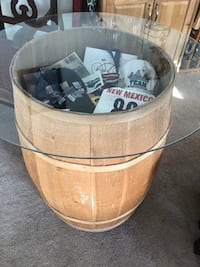 Faux wine barrel table with glass top