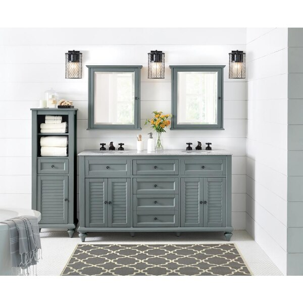 Home Decorators Collection Hamilton 61 In W X 22 In D Double Bath Vanity In Grey With Granite Vanity Top In Grey With White Sink