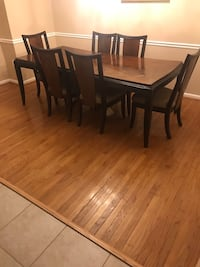 rectangular brown wooden table with four chairs dining set White Plains, 20695