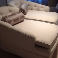 2 Beige and white armed bedroom sofa chairs(right and left) Fayetteville, 28311