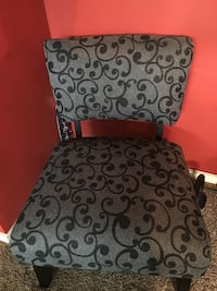 2 Black and gray floral fabric chair 1217 mi
