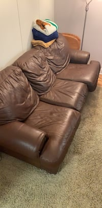 Brown leather 3-seat sofa. With pull out queen couch New York, 10017