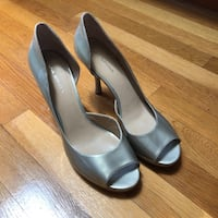 Via Spiga platinum leather peep toe platform stilettos