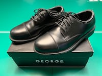George Mens Size 7.5 Black Oxford Dress/Work Lace-Up Cap Toe Shoes Woodstock, 21163