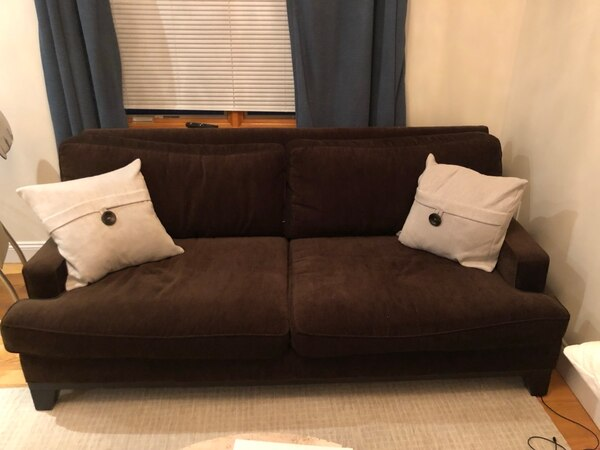 Used Brown chenille sofa for sale in New York - letgo