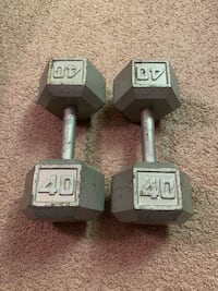 2 - 40lbs and 1 - 60lb Hex Dumbbells Reston, 20194