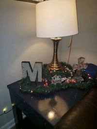 TV stand, side table, lamp