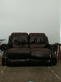 Top grain cowhide reclining loveseat