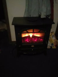Fire place electric with black wooden stand