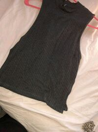 Grey Ribbed high neck shirt with side slits Elmont, 11003