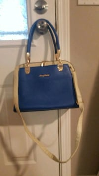 blue and white leather tote bag 3736 km