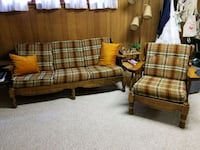brown and beige plaid fabric sofa set Paeonian Springs, 20129