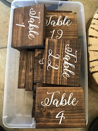 Dark Wood Wedding Table Numbers El Cajon, 92021