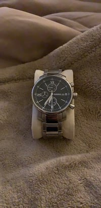 round silver chronograph watch with silver link bracelet Alexandria, 22304