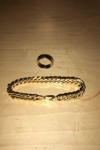 Gold ring and Cuban link chain bracelet