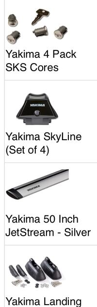 New unused Yakima roof rack with mounts and locks.
