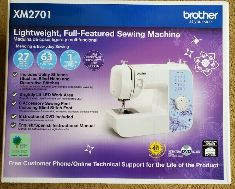 Brother XM2701 Sewing Machine Lightweight Full Featured 27 stitches New In-Box