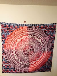 NDIAN MANDALA HOME DECORATION TAPESTRY RED OMBRE NEW Victoria