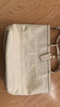 Monogrammed white and gray coach leather handbag Menifee, 92584