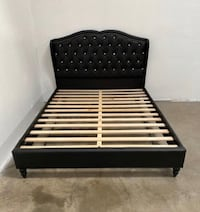 Brand new queen size black leather platform bed