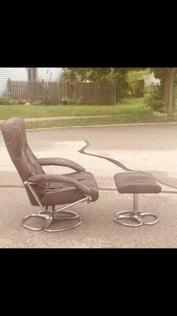 Strange Kebe Made In Denmark Dark Brown Leather And Chrome Lounge Danish Chair With Ottoman Theyellowbook Wood Chair Design Ideas Theyellowbookinfo