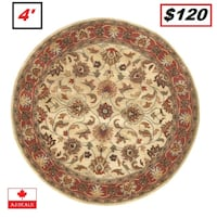 AJ - BRAND NEW - Arden Brick Hand-Woven Tufted Wool Red Area Rug 4' Round Mississauga