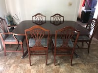 Rectangular brown wooden table with six chairs dining set  Bridgeville, 19933